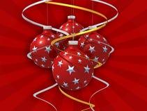 рождество 4 смычка шарика Стоковые Изображения