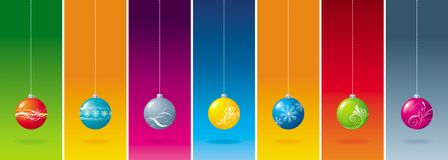 рождество 7 шарика Стоковая Фотография