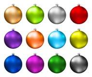 рождество baubles цветастое Цветовая гамма шариков рождества изолированных на белой предпосылке Photorealistic высококачественный стоковые фото