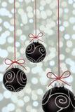 рождество baubles черное стоковая фотография