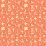 Рождество doodles безшовная картина Стоковые Фото