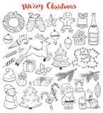 Рождество Doodles собрание иллюстрация штока