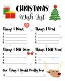 Рождество Wishlist для детей, иллюстрация Милый шарж h Стоковое фото RF