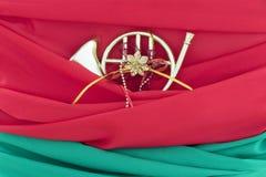 Рожок орнамента рождества золотой французский Стоковое Изображение