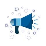 Рожок сини значка маркетинга рекламировать знак иллюстрация штока