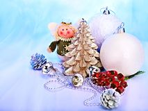 Рождества жизнь все еще с валом, шариком. Стоковое Изображение RF