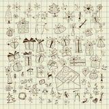 Рождества значка нарисованного комплект рукой Стоковые Фотографии RF