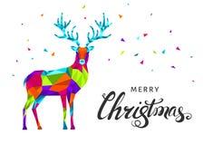 Рождества северный олень треугольника низко поли красочный Стоковое Изображение