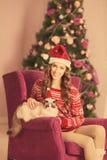 Рождественская вечеринка, женщина зимних отдыхов с котом Новый Год девушки Рождественская елка в интерьере Стоковая Фотография