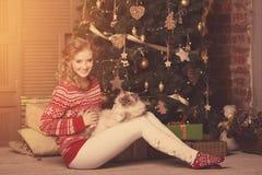 Рождественская вечеринка, женщина зимних отдыхов с котом Новый Год девушки Стоковое Изображение RF