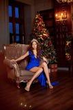 Рождественская вечеринка, женщина зимних отдыхов с подарочной коробкой Новый Год девушки рождественская елка в внутренней предпос Стоковая Фотография RF