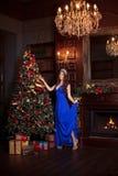 Рождественская вечеринка, женщина зимних отдыхов с подарочной коробкой Новый Год девушки рождественская елка в внутренней предпос Стоковое Фото