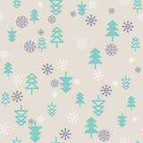 Рождественская елка безшовной картины плоская, предпосылка снежинки бесплатная иллюстрация
