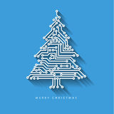 Рождественская елка вектора от цифровой радиотехнической схемы иллюстрация штока