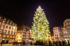 Рождественская елка в Страсбурге Стоковая Фотография