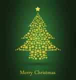 Рождественская елка золота с зеленой предпосылкой Стоковое фото RF