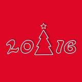 Рождественская елка 2016, линия графический дизайн, поздравительная открытка праздника модель-макета, красная предпосылка Стоковое Фото