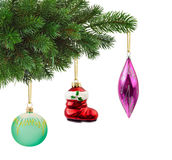 Рождественская елка и игрушки Стоковые Фото