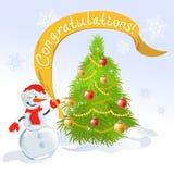 Рождественская елка и снеговик Стоковые Изображения