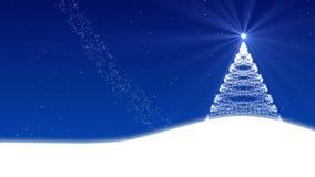 Рождественская елка и снег, петля иллюстрация вектора