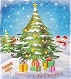 Рождественская елка и снежинка в снеге с открыткой торжества зимы подарков Стоковые Фотографии RF