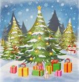 Рождественская елка и снежинка в снеге с торжеством зимы подарков Стоковые Изображения
