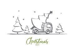 Рождественская елка нарисованная рукой в автомобиле с литерностью Стоковая Фотография