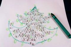 Рождественская елка нарисованная с цирконами Стоковое Изображение RF