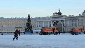 Рождественская елка на квадрате дворца сток-видео