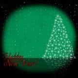 Рождественская елка на Новый Год падая снежок Поздравление Стоковые Изображения