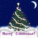 Рождественская елка на Новый Год падая снежок Поздравление Стоковые Фото