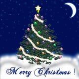 Рождественская елка на Новый Год падая снежок Поздравление Стоковое Изображение RF