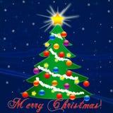 Рождественская елка на Новый Год падая снежок Поздравление Стоковые Фотографии RF