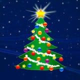 Рождественская елка на Новый Год падая снежок Поздравление Стоковое Фото