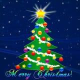 Рождественская елка на Новый Год падая снежок Поздравление Стоковое фото RF