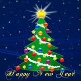Рождественская елка на Новый Год падая снежок Поздравление Стоковые Изображения RF