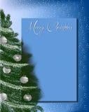Рождественская елка на сини предпосылки letterhead поздравительной открытки Стоковое Изображение RF