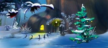 Рождественская елка около дома сказки в лесе зимы Стоковое фото RF