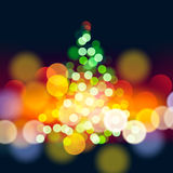 Рождественская елка освещает предпосылку Стоковая Фотография