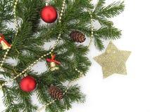 Рождественская елка предпосылки Нового Года и рождества в снегах Стоковая Фотография RF