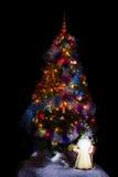 рождественская елка предпосылки черная Стоковое Фото