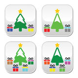 Рождественская елка при присутствующие установленные кнопки Стоковое Изображение