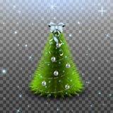Рождественская елка при серебряные изолированные шарики, гирлянда и смычок на верхнем Стоковое Изображение