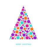 Рождественская елка при яркая картина праздника сделанная из красочного cir Стоковое Изображение RF