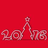 Рождественская елка 2016, плакат модель-макета зимнего отдыха, предпосылка красного цвета приглашения партии Стоковое фото RF
