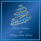 Рождественская елка снежинок и светов Стоковые Фото