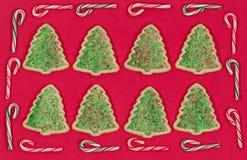 Рождественская елка сформировала печенья окруженные границей тросточки конфеты дальше Стоковое Изображение