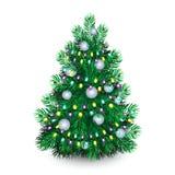Рождественская елка с белыми шариками и гирляндой иллюстрация вектора