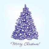 Рождественская елка с вектором шариков нарисованным рукой Стоковые Изображения RF