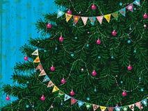 Рождественская елка с гирляндой иллюстрация вектора